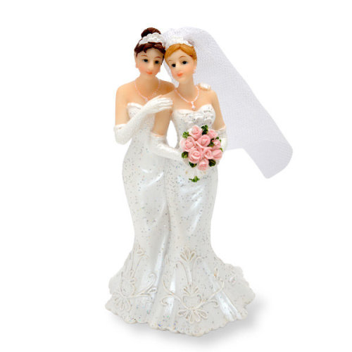Same Sex Wedding Mrs. And Mrs. Cake Topper. Two Brides In Wedding Dresses