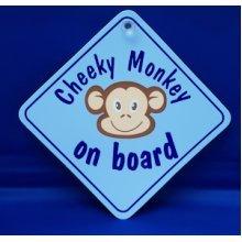 Blue Cheeky Monkey Diamond Window Hanger -  cheeky monkey blue diamond sign castle promotions suction cup window dh05