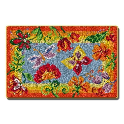 """Latch Hook Rug Kit""""Bright Flowers and Butterfly"""" 88x57cm"""