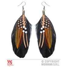 Pair Of Beaded Feather Earrings - Gypsy Traveller Fortune Teller Fancy Dress -  pair beaded feather gypsy earrings traveller fortune teller fancy