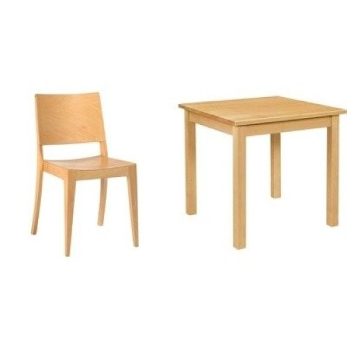 Noth Natural Wood Square Table and Chair Set / Chair Pack of 2