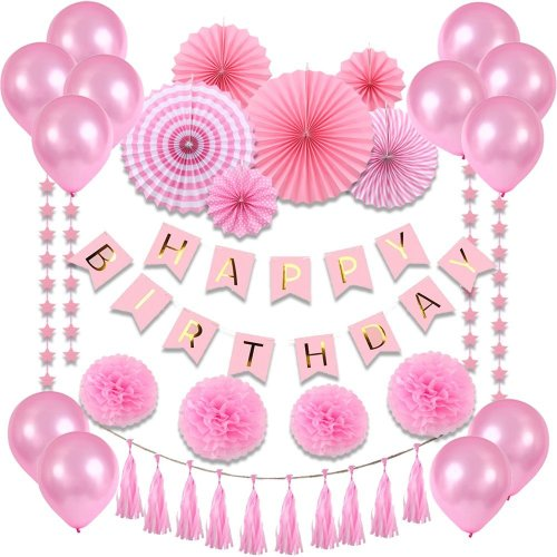 VEYLIN Birthday Party Decoration Set for Girls, 35 Pieces Pink Baby Shower  Supplies for Girls,Includes Paper Fans,Balloons,Happy Birthday...