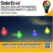 Solar Brite Deluxe 20LED Multicoloured Solar Powered Festoon Party Lights