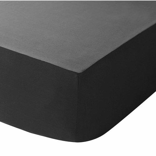 "SASA CRAZE Bedding Extra Deep 16""/40cm Fitted Sheet (King, Black)"