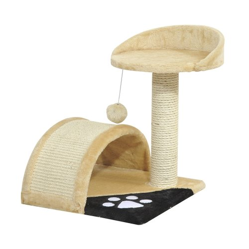 PawHut Beige Cat Activity Centre | Cat Bed & Single Scratching Post