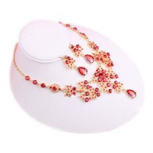 RED Pendant Necklace Bridal Jewelry Set Wedding Necklace and Earrings for Bride