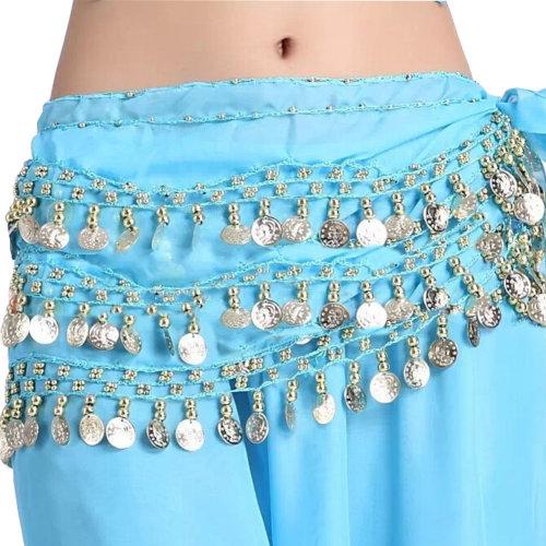Chiffon Light Blue Belly Dance Scarf With Dangling Gold Coins Belt Skirt