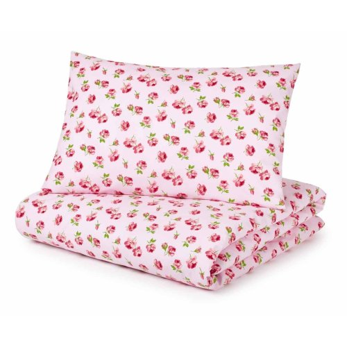 Cot Bed Duvet Cover and Pillowcase Set, Pink Roses