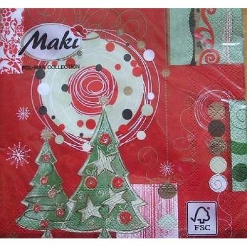 4 x Christmas Paper Napkins - Red Christmas - Ideal for Decoupage