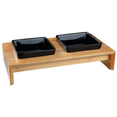 Dogs Feeding Bowls Set Ceramic and Wood (0.4 Litre)