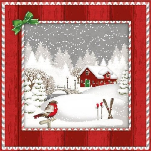 33 x 33cm Christmas 3-ply 4 Paper Napkins for Decoupage Crystals Blue 4 Individual Napkins for Craft and Napkin Art.