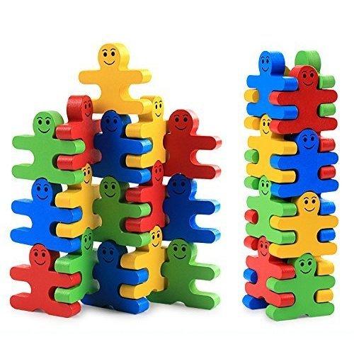 Pulchram Building Blocks Toys 16 Pieces Creative Wooden Puzzle Party Favors Supplies for Kids Children