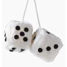7 x 7cm White Furry Dice Car Hangers - Hanging Sumecm Dados10 -  7 car hanging furry dice white sumex cm dados10
