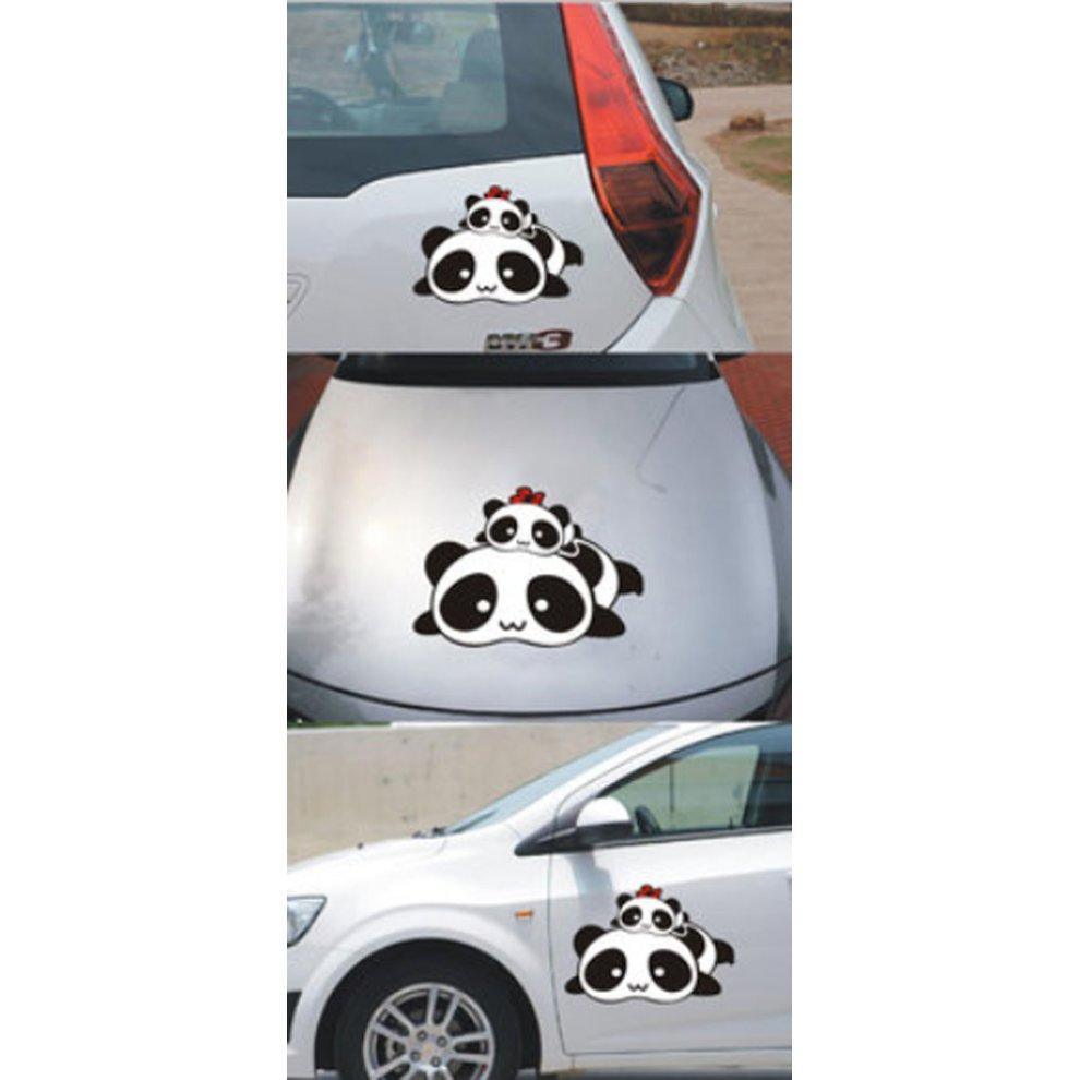 Set of 2 cute panda family car stickers unique design custom car stickers 1