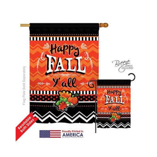 Breeze Decor 13055 Thanksgiving Happy Fall 2-Sided Vertical Impression House Flag - 28 x 40 in.