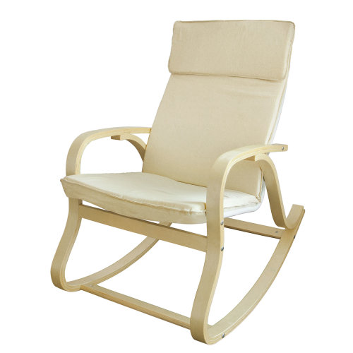 SoBuy® FST15-W, Rocking Chair Relax Lounge Chair with Cotton Fabric Cushion
