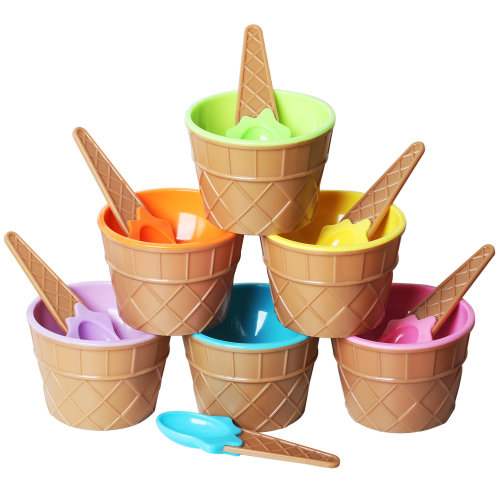 TRIXES Set of 6 Ice Cream Dessert Bowls and Matching Spoons – Plastic - Assorted Cute Colours – Wafer Design