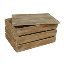 Medium Oak Effect Slatted Lidded Wooden Storage Box