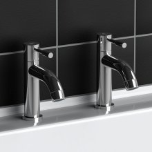 Twin Modern Chrome Plated Brass Bath Monobloc Lever Filler Taps Bathroom
