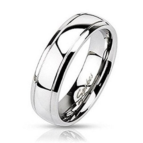 Grooved Edged Surgical Steel Dome Band Finger Ring