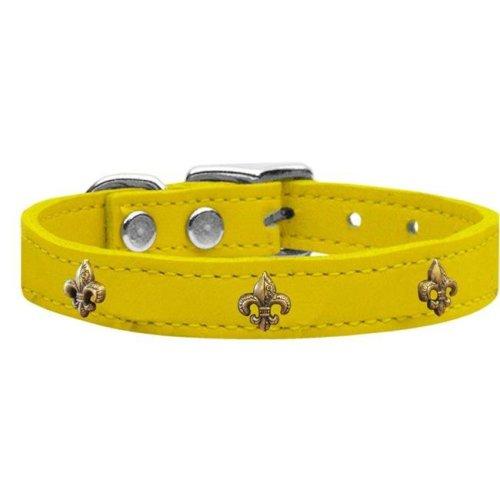 Mirage Pet 83-68 Yw18 Bronze Fleur De Lis Widget Genuine Leather Dog Collar, Yellow - Size 18