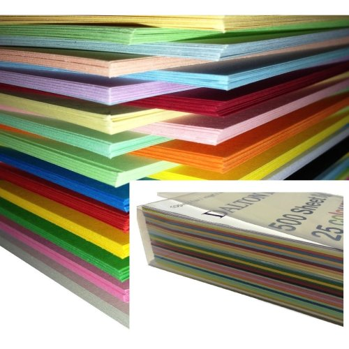 Dalton Manor A4 Coloured Card 250 Sheet Pack 160gm, 25 Assorted Colours
