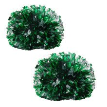 Colorful Large Plastic Baton Handle Cheerleading Poms 120g (Pair), Green+Silver
