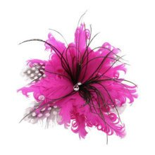 Ladies Pin Brooches Feather Flower Brooches Hair Decor, Rose Red