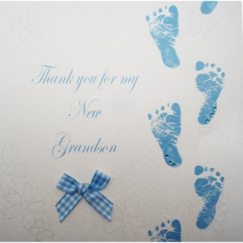 WHITE COTTON CARDS Code WB224-GS Blue Footprints Thank You For My New Grandson Hand Finished New Grandson Card