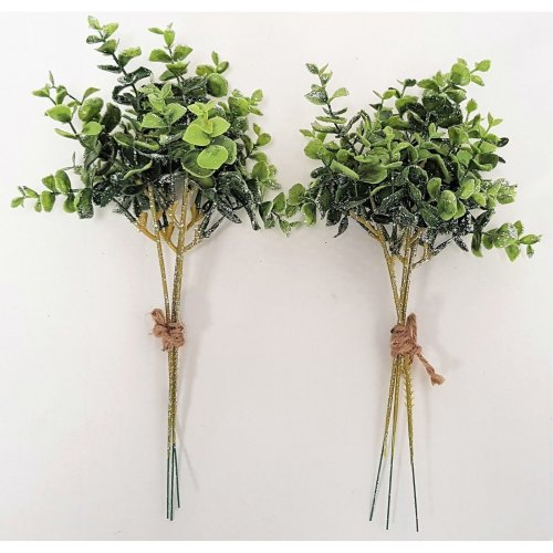 Set of 2 Artificial Eucalyptus Bundles with Silver Glitter - 30cm - Christmas