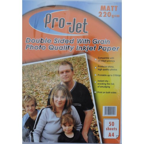 50 Sheets Projet 220gsm A4 Double Sided Matte / Matt Photo Paper with Grain