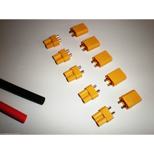 5 x Pairs Of XT30 Lipo Battery Connectors & Heatshrink For Heli Plane 250 Quad