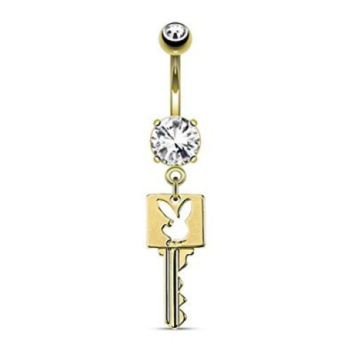 Official Licensed Playboy 14kt Gold Plated Bunny Die Cut Key Belly Bar