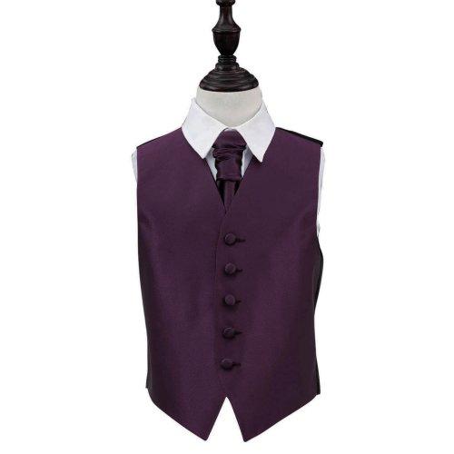 Cadbury Purple Solid Check Wedding Waistcoat & Cravat Set for Boys 24'