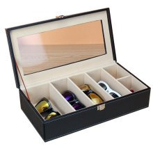 Leather Storage Case Eyeglasses Display Organizer Box (Black)