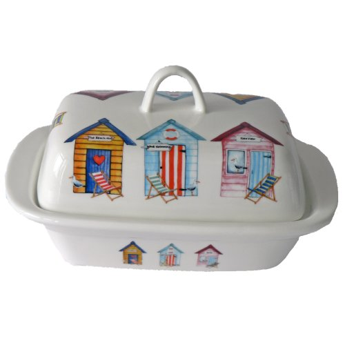 Beach hut pattern butter dish - beach hut pattern on porcelain dish