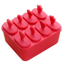 Square  Box Ice Pop Molds 14.5*12*6CM, Red, Set Of 8