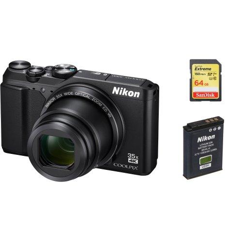 NIKON A900 Black + SanDisk Extreme 64G SD card + NIKON EN-EL12 Battery