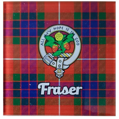 Scottish Fraser Tartan Glass Coaster Scotland Clan Cork Back Souvenir Gift Checked
