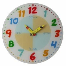 Teach The Time Children's Learn Wall Clock Colourful Glass 30cm W7534