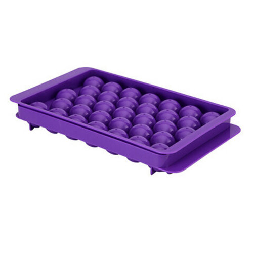 Set Of 2 Creative Ball Shape Ice Cube Tray For Home/Bar, Purple
