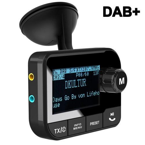 Blufree In Car DAB+ Digital Radio Adapter FM Transmitter, Bluetooth Receiver Handsfree Car Kit MP3 Music Play, DAB Portable Radio Adaptor with...