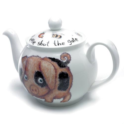 Roy Kirkham Bone China 6 Cup Teapot, Please Shut the Gate, Pig Design