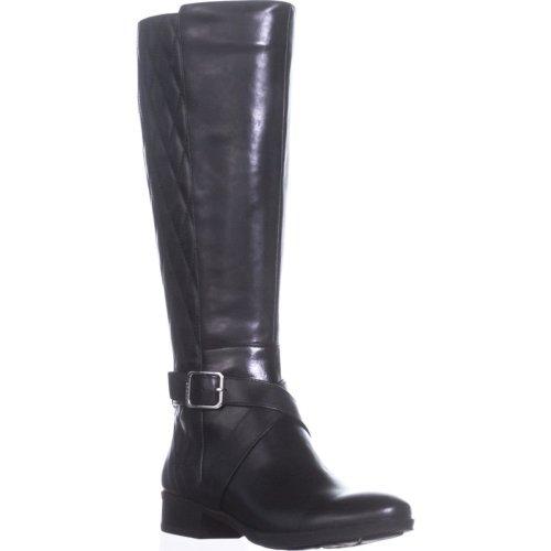 DKNY Mattie Flat Knee-High Boots, Black Leather, 4.5 UK