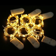 Battery Powered Silver Wire Waterproof LED Fairy Micro Lights 2M 20 LEDs 6-Pack