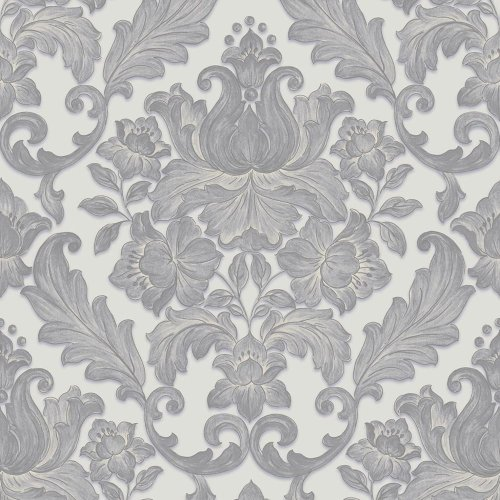 Sirpi Italian Damask Pattern Wallpaper Metallic Floral Leaf Heavy Weight Vinyl[SILVER 20573]