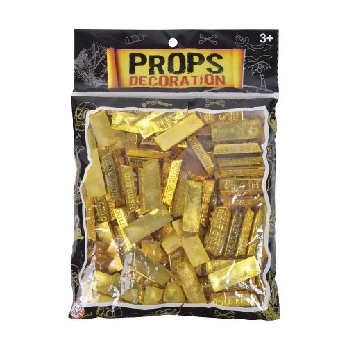 Bristol Novelty Pirate Fake Gold Bars (Pack Of 25)