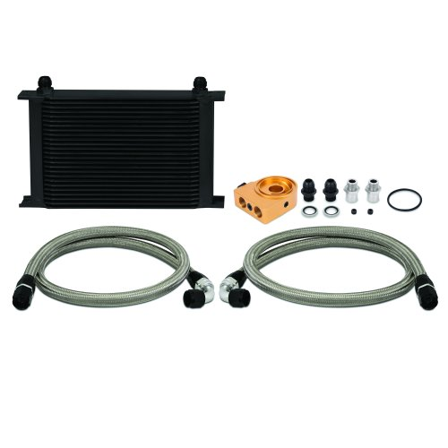 Mishimoto MMOC-UHTBK Universal Oil Cooler Kit, 25-Row, Black Thermostatic