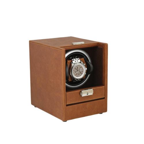Brown Genuine Leather Watch Winder Deep Brown Velvet Lining by Aevitas
