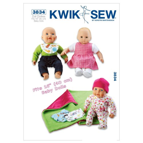 KWIK-SEW PATTERNS K3834 Size Fits 16-inch Baby Dolls Doll Clothes, Pack of 1, White
